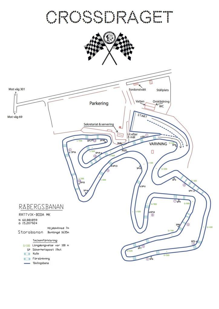Karta över tävlingsbanan - Crossdraget